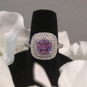Beautiful CZ Halo Purple Stone Ring